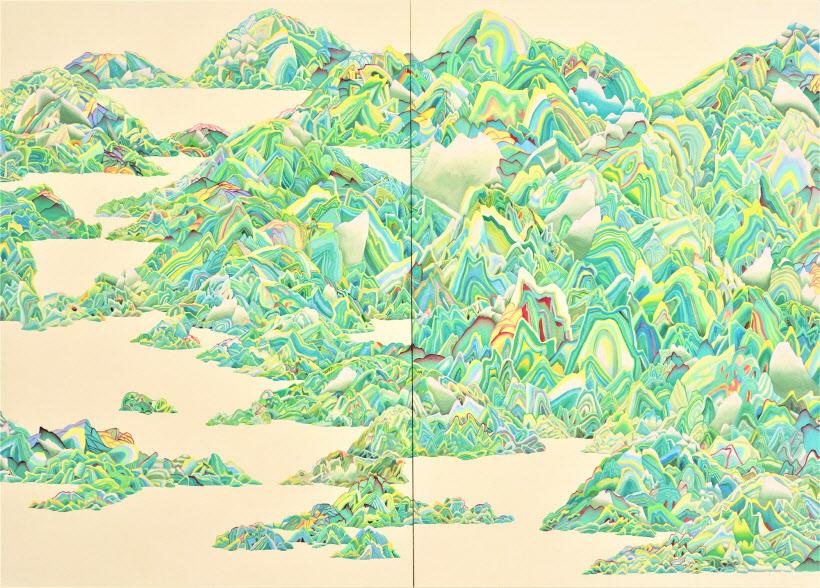 권은지, 천록지(天綠地), 장지에 채색, 190x260cm, 2017