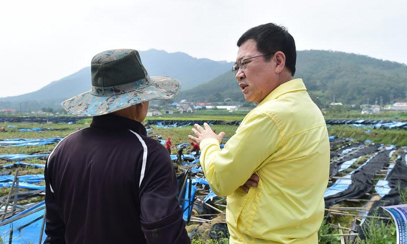 박남춘인천시장강화도태풍피해지역방문