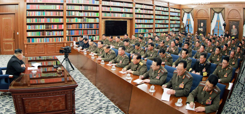 북한 김정은, 당 중앙군사위원회 확대회의 주재<YONHAP NO-1527>
