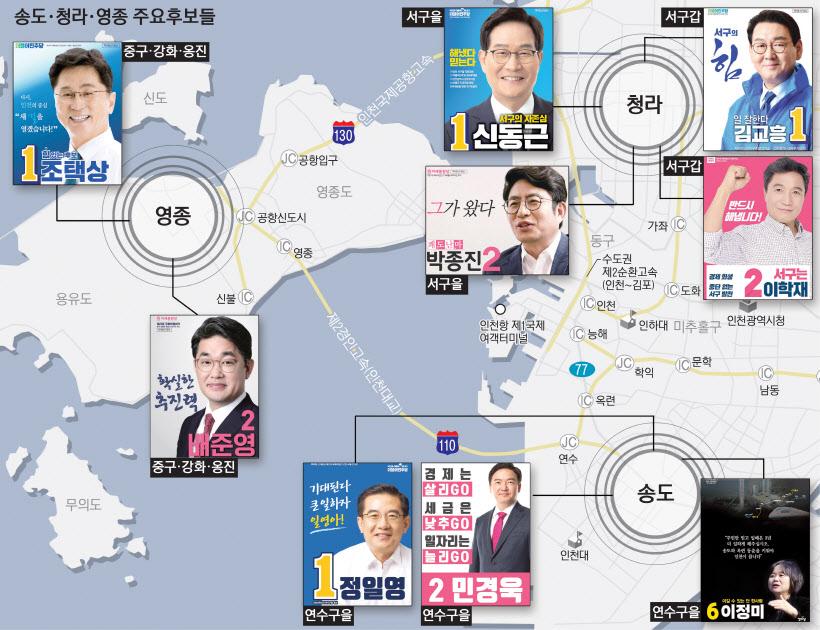 [줌인 ifez]인천 주요후보들 `송도·청라·영종` 선거 공보 살펴보니