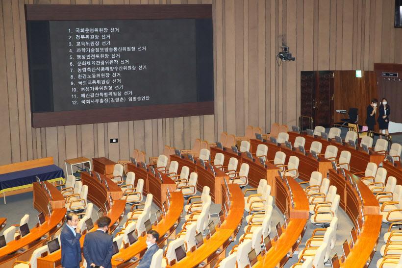 [포토]상임위원장 선거, 통합당 '불참'