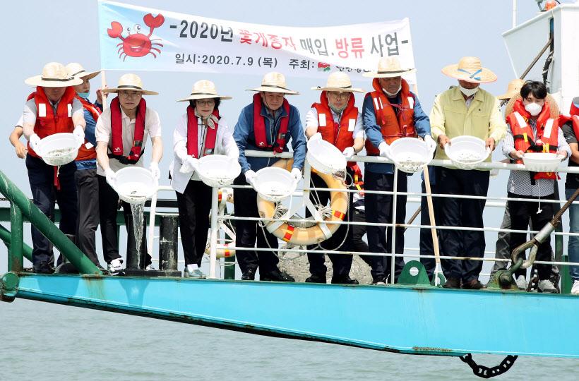 인천 중구 을왕왕산해역에 꽃게 96만미 방류